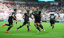 Diego Costa of Chelsea celebrates - Mandatory byline: Alex James/JMP - 07966386802 - 11/09/2016 - FOOTBALL - Barclays premier league -swansea,Wales - Swansea v Chelsea  -