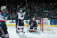 KELOWNA, CANADA - MARCH 25: Dillon Dube #19 and Calvin Thurkauf #27 of the Kelowna Rockets celebrate the third goal of the game during third period against Connor Ingram #39 of the Kamloops Blazers on March 25, 2017 at Prospera Place in Kelowna, British Columbia, Canada.  (Photo by Marissa Baecker/Shoot the Breeze)  *** Local Caption ***