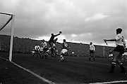13/10/1963<br /> 10/13/1963<br /> Ireland v Austria, European Championship match at Dalymount Park, Dublin. Ireland won the game 3-2. Ireland's Andy McEvoy jumps for the ball with Ambrose Fogarty (10) in support, but Austrian keeper Rudolf Flogel beats them to the punch.