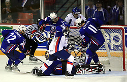 Goalkeeper of Slovenia Andrej Hocevar, Anze Kopitar of Slovenia and Robert Petrovicky (39) of Slovakia when he scored at ice-hockey game Slovenia vs Slovakia at second game in  Relegation  Round (group G) of IIHF WC 2008 in Halifax, on May 10, 2008 in Metro Center, Halifax, Nova Scotia, Canada. Slovakia won after penalty shots 4:3.  (Photo by Vid Ponikvar / Sportal Images)