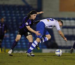 Bristol Rovers' John-Joe OToole challenges Bury's Chris Sedgwick - Photo mandatory by-line: Dougie Allward/JMP - Mobile: 07966 386802 01/04/2014 - SPORT - FOOTBALL - Bury - Gigg Lane - Bury v Bristol Rovers - Sky Bet League Two