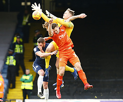 January 26, 2019 - Southend, England, United Kingdom - Nathan Bishop of Southend United and James Collins of Luton Town.during Sky Bet League One match between Southend United and Luton Town at Roots Hall Ground, Southend, England on 26 Jan 2019. (Credit Image: © Action Foto Sport/NurPhoto via ZUMA Press)