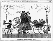 Digging for Victory in World War I. A family returning from their allotment with the vegetables they have grown. From 'Punch', London, 14 March 1917.