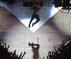 Maroon 5 frontman Adam Levine takes flight during the Super Bowl Halftime Show on Sunday, February 3, 2019, at Mercedes-Benz Stadium in Atlanta, GA, USA. Photo by Alyssa Pointer/Atlanta Journal-Constitution/TNS/ABACAPRESS.COM