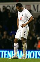 Photo: Tom Dulat.<br /> Tottenham Hotspur v Getafe. UEFA Cup. 25/10/2007.<br />  Heads down-Younes Kaboul of Tottenham Hotspur after lost game
