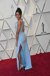 February 24, 2019 - Los Angeles, California, U.S - 'BlacKkKlansman' actress LAURA HARRIER, wearing a blue Louis Vuitton dress, during red carpet arrivals for the 91st Academy Awards, presented by the Academy of Motion Picture Arts and Sciences (AMPAS), at the Dolby Theatre in Hollywood. (Credit Image: © Kevin Sullivan via ZUMA Wire)