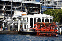 Darling Harbour, Waterfront Sydney with old paddle steamer moored
