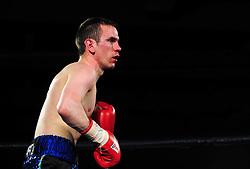 Lee Haskins bleeds from the nose - Photo mandatory by-line: Dougie Allward/JMP - Tel: Mobile: 07966 386802 27/04/2013 - SPORT - FOOTBALL - City Academy Sports Centre - Bristol - Lee Haskins V Martin Ward - British bantamweight title