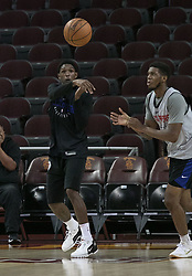 October 10, 2017 - Los Angeles, California, U.S - Lou Williams #23 of the Los Angeles Clippers passes the ball during their Free Open Practice for fans held on Tuesday October 10, 2017 at the Galen Center in USC in Los Angeles, California. (Credit Image: © Prensa Internacional via ZUMA Wire)