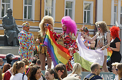 June 18, 2017 - Kiev, Ukraine - Gay and lesbian rights activists take part at Kiev Pride 2017 Gay Parade in Kiev, Ukraine, on 18 June 2017. Several thousand gays and lesbians activists and associations paraded in the center of Kiev. (Credit Image: © Serg Glovny via ZUMA Wire)