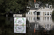 Flooded street in  Conway. South Carolina almost two weeks after Hurricane Florence hit.