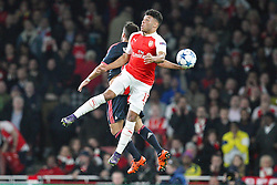 20.10.2015, Emirates Stadium, London, ENG, UEFA CL, FC Arsenal vs FC Bayern Muenchen, Gruppe F, im Bild l-r: Juan Bernat #18 (FC Bayern Muenchen) und Alex Oxlade-Chamberlain #15 (FC Arsenal London) // during UEFA Champions League group F match between Arsenal FC and FC Bayern Munich at the Emirates Stadium in London, Great Britain on 2015/10/20. EXPA Pictures © 2015, PhotoCredit: EXPA/ Eibner-Pressefoto/ Kolbert<br /> <br /> *****ATTENTION - OUT of GER*****