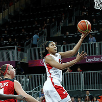 07 August 2012: USA Maya Moore goes for the layup during 91-48 Team USA victory over Team Canada, during the women's basketball quarter-finals, at the Basketball Arena, in London, Great Britain.