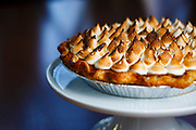Please and Thank You's bourbon sweet potato pie with torched molasses fluff.