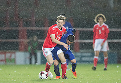 WREXHAM, WALES - Thursday, November 10, 2016: Wales' Aaron Lewis in action against Greece during the UEFA European Under-19 Championship Qualifying Round Group 6 match at the Racecourse Ground. (Pic by Gavin Trafford/Propaganda)