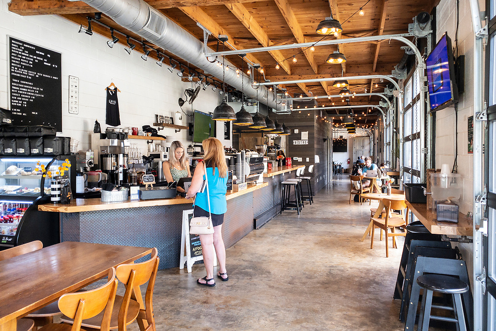 Industrial style space for the coffee shop at Boulevard West in Clayton, North Carolina on Thursday, August 19, 2021. Copyright 2021 Jason Barnette