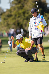 January 25, 2019 - San Diego, CA, U.S. - SAN DIEGO, CA - JANUARY 25:  Hideki Matsuyama with his caddie Daisuke Shindo during the second round of the Farmers Insurance Open at Torrey Pines Golf Club on January 25, 2019 in San Diego, California.(Photo by Alan Smith/Icon Sportswire) (Credit Image: © Alan Smith/Icon SMI via ZUMA Press)