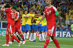 June 27, 2018 - Moscow, Russia - June 27, 2018, Russia, Moscow, FIFA World Cup 2018, First round, Group D, Third round. Football match Serbia - Brazil at the stadium of Spartak. Player of the national team Goal; joy; victory. (Credit Image: © Russian Look via ZUMA Wire)