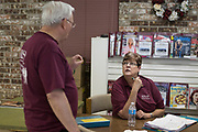 DURANT, OKLAHOMA - MARCH 24:  Sheila Risner visits with Vowell Posey (left) at the Bryan County Retired Senior Volunteer Program in Durant, Oklahoma on March 24, 2017. (Photo by Cooper Neill for The Washington Post)