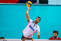 Marko Sedlacek of Croatia in action during the CEV Eurovolley 2021 Qualifiers between Croatia and Netherlands at Topsporthall Omnisport on May 16, 2021 in Apeldoorn, Netherlands