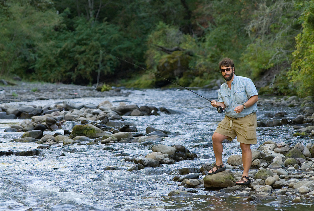 Fly fishing on the North Fork of the Umatilla River, Oregon.
