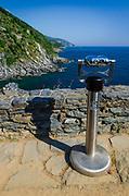 Tourist viewfinder on the Ligurian Coast, Vernazza, Cinque Terre, Liguria, Italy