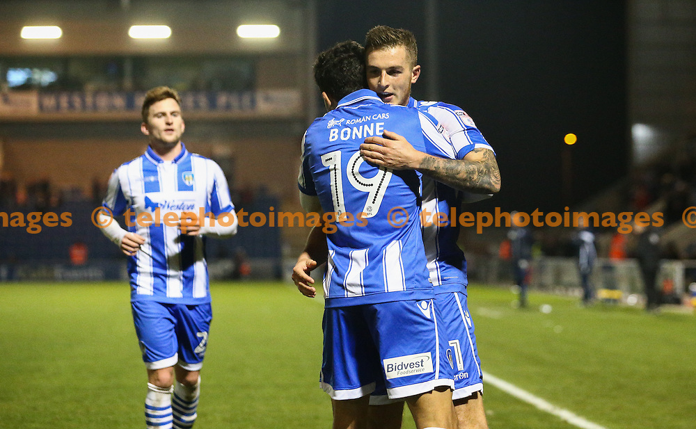 Ben Dickenson of Colchester United celebrates scoring during the Sky Bet League 2 match between Colchester United and Crewe Alexandra at the Weston Homes Community Stadium in Colchester. November 26, 2016.<br /> Arron Gent / Telephoto Images<br /> +44 7967 642437
