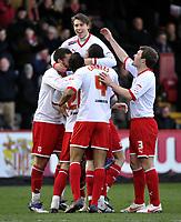 FA Cup 4th Round Stevenage Borough v Notts County<br />Luke Freeman top of the pile celebrates 1st goal
