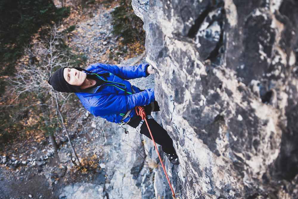 Jeff Statler climbs Remote Control, 5.11a, American Fork Canyon.