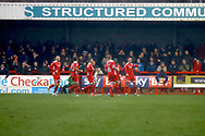 Crawley Town players celebrate a penalty goal from Crawley Town midfielder Jimmy Smith (8) (score 1-0) during the EFL Sky Bet League 2 match between Crawley Town and Grimsby Town FC at the Checkatrade.com Stadium, Crawley, England on 10 February 2018. Picture by Andy Walter.