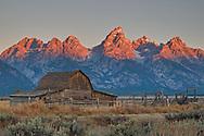 A throwback to America's homesteading past, a pioneer era barn sits beneath the Teton range.