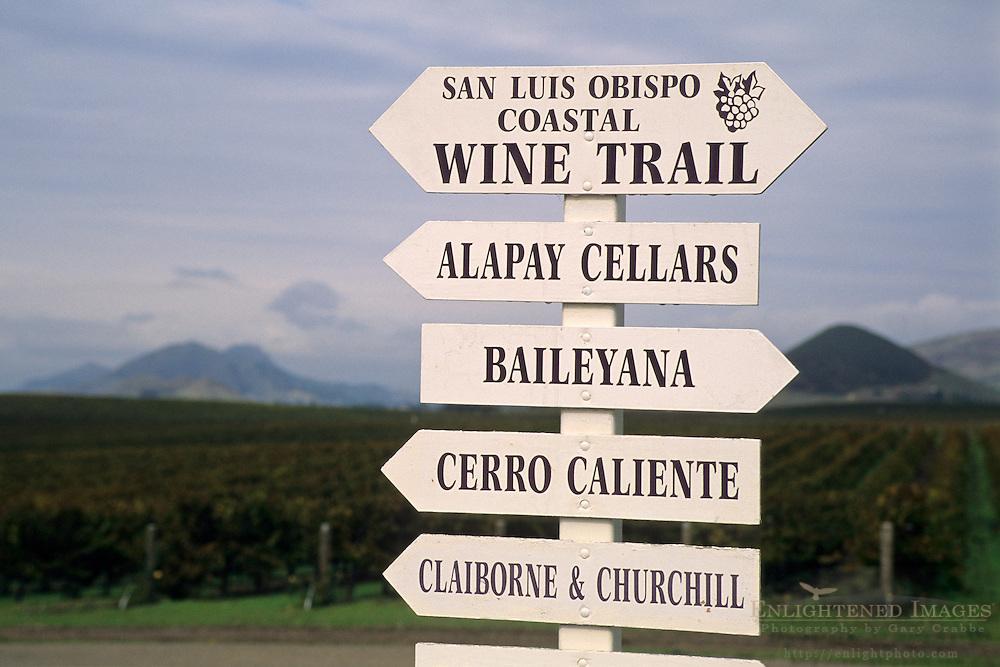 SLO Coastal Wine Trail Signs, Edna Valley, near San Luis Obispo, San Luis Obispo County, California