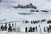 Skiers in the French Alps. Tignes, France.