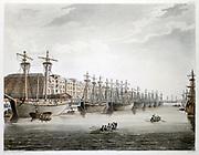 West India Docks, London. Built 1799-1802. Engineer William Jessop. Warehouses by George Gwilt (1746-1807). Illustration by Pugin & Rowlandson 'Microcosm of London'  Ackermann, London 1808-10. Aquatint