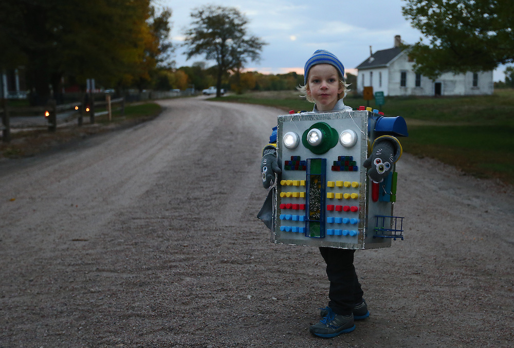 Henry Black, 4, wore a robot costume complete with it's own lights during the All Hallows Eve event Friday at the Stuhr Museum in Grand Island. (Independent/Matt Dixon)