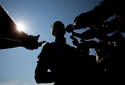 Robert Kranjec with journalists after fitness training of Slovenian Ski jumping National A team, on May 6, 2016, in Stadium Kranj, Slovenia.Photo by Vid Ponikvar / Sportida