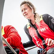 © María Muiña I MAPFRE: Sophie Ciszek a bordo del MAPFRE durante un entrenamiento costero. Sophie Ciszek on board MAPFRE during an inshore training.