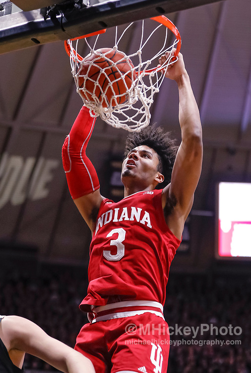 WEST LAFAYETTE, IN - JANUARY 19: Justin Smith #3 of the Indiana Hoosiers dunks the ball during the first half of the game against the Purdue Boilermakers at Mackey Arena on January 19, 2019 in West Lafayette, Indiana. (Photo by Michael Hickey/Getty Images) *** Local Caption *** Justin Smith