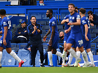 Football - 2019 / 2020 Premier League - Chelsea vs. Wolverhampton Wanderers<br /> <br /> Chelsea Manager Frank Lampard celebrates as Olivier Giroud scores his side's second goal, at Stamford Bridge.<br /> <br /> COLORSPORT/ASHLEY WESTERN