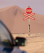 Train crossing in the middle of the Namib Desert, near Swakopmund, Namibia