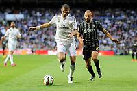 Real Madrid´s Pepe and Malaga´s Nordin Amrabat during 2014-15 La Liga match between Real Madrid and Malaga at Santiago Bernabeu stadium in Madrid, Spain. April 18, 2015. (ALTERPHOTOS/Luis Fernandez)