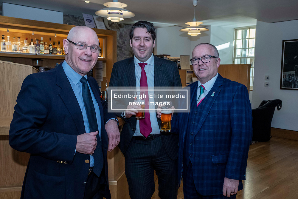 Pictured: Ray Turpie, CAMRA, Neil Bibby, MSP, and Colin Wilkinson, Managing Director of the Scottish Licensed Trade Association<br /><br />Neil Bibby MSP will be joined by representatives from the Scottish Licensed Trade Association and the Campaign for Real Ale as he introduces his Tied Pubs Member's Bill. Lessons laernt from similar legislation in England have been taken into account in the Scottish Bill.<br /><br /><br />Ger Harley | EEm 4 February 2020