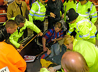 Photo. Jed Wee, Digitalsport<br /> NORWAY ONLY<br /> <br /> Sunderland v Crystal Palace, Nationwide League Division One Playoff Semi-finals Second Leg, 16/05/2004.<br /> A Crystal Palace disabled supporter is toppled in the crush caused as scorer Darren Powell ran into the crowd.
