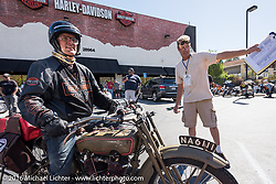 Harry Verkuil of Scotland on his 1916 Model F class-3 Harley-Davidson as he arrives at the hosted lunch stop at Temecula Harley-Davidson on the last day of the Motorcycle Cannonball Race of the Century. Stage-15 ride from Palm Desert, CA to Carlsbad, CA. USA. Sunday September 25, 2016. Photography ©2016 Michael Lichter.