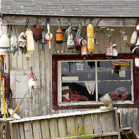 Lobster trap bouys and lobsterman stuff, South Bristol Maine