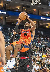 July 6, 2018 - Oakland, CA, U.S. - OAKLAND, CA - JULY 06: Baron Davis (5) co-captain of 3's Company stumbles backward while shooting a basket during game 1 in week three of the BIG3 3-on-3 basketball league on Friday, July 6, 2018 at the Oracle Arena in Oakland, CA (Photo by Douglas Stringer/Icon Sportswire) (Credit Image: © Douglas Stringer/Icon SMI via ZUMA Press)