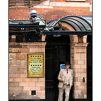 Dapper Chap, Romilly Street;<br /> Palace Theatre, Shaftesbury Avenue;<br /> Empty London in Lockdown;<br /> 7th July 2020.<br /> <br /> © Pete Jones<br /> pete@pjproductions.co.uk