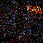 Kansas City Chiefs fans were illuminated by a shaft of sunlight in the fourth quarter in the game against the Pittsburgh Steelers on October 15, 2017 at Arrowhead Stadium in Kansas City, Mo.