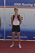 Banyoles, SPAIN,  GBR  LM1X, Bronze medalist. Adam FREEMAN-PASK, Men's lightweight single Sculls Final.  FISA World Cup Rd 1. Lake Banyoles  Saturday, 30/05/2009  [Mandatory Credit. Peter Spurrier/Intersport Images]