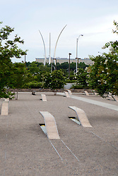 Pentagon 911 Memorial With Air Force Memorial In The Background